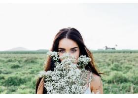 女人,模特,模特,妇女,女孩,黑发女人,白色,花,深度,关于,领域,棕
