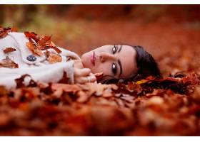 女人,模特,模特,妇女,女孩,黑发女人,秋天,污迹,叶子,棕色,眼睛,