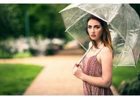 女人,模特,模特,妇女,女孩,黑发女人,绿色的,眼睛,雀斑,雨伞,污迹