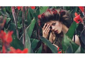 女人,模特,模特,妇女,女孩,黑发女人,蓝色,眼睛,花冠,花,叶子,壁