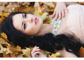 女人,模特,模特,妇女,女孩,黑发女人,说谎的,向下,棕色,眼睛,叶子