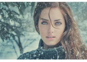 女人,模特,模特,妇女,女孩,黑发女人,雪,降雪,绿色的,眼睛,壁纸,