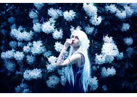 女人,模特,模特,妇女,女孩,白色,头发,白色,花,花,文身,穿衣,壁纸