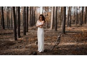 女人,模特,模特,妇女,女孩,白色,穿衣,黑发女人,森林,深度,关于,