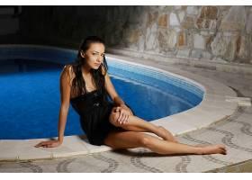 女人,安娜,Sbitnaya,模特,乌克兰,模特,泳池,穿衣,妇女,黑色,穿衣