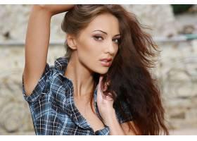女人,安娜,Sbitnaya,模特,乌克兰,模特,衬衫,棕色,头发,长的,头发