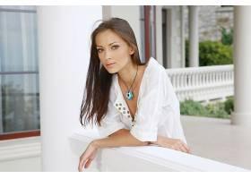 女人,安娜,Sbitnaya,模特,乌克兰,模特,衬衫,项链,棕色,头发,棕色