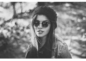 女人,模特,模特,妇女,女孩,快活的,Bokeh,帽子,太阳镜,黑色,白色,