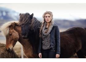 女人,模特,模特,妇女,女孩,白皙的,蓝色,眼睛,辫子,马,壁纸,