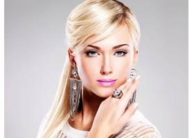 女人,模特,模特,脸,女孩,妇女,口红,白皙的,蓝色,眼睛,耳环,壁纸,