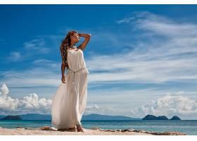 女人,情绪,妇女,模特,女孩,白色,穿衣,黑发女人,海洋,沙,天空,云,