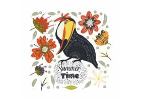 夏天主题鸟类花卉矢量标签设计