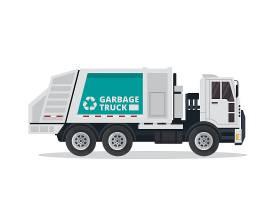 创意扁平化垃圾回收车插画矢量元素