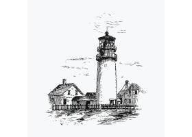 手绘灯塔矢量装饰元素标签设计