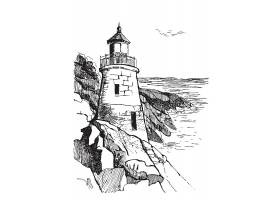 手绘创意灯塔主题插画设计
