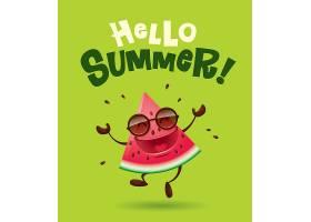 卡通西瓜形象夏天你好主题插画