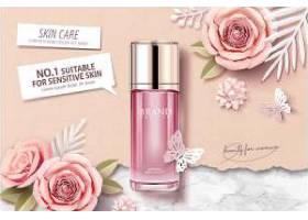 粉色花朵化妆品海报设计图片