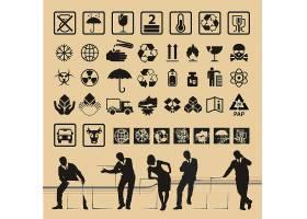 个性复古包装上的指示图标设计图片