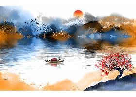 彩色江南山水画