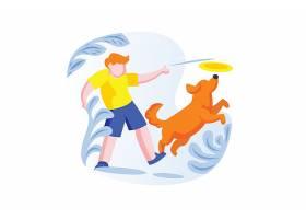 扁平化人与小狗玩耍主题插画设计