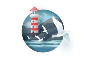扁平化海边灯塔海鸥主题插画设计