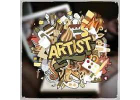 手绘艺术家主题标签画设计