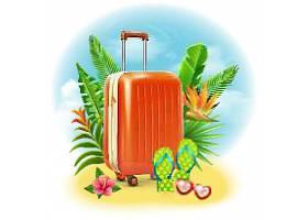 行李箱夏日元素矢量装饰插画设计