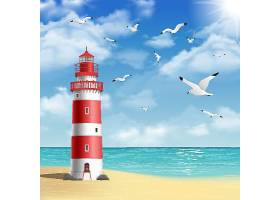 沙滩灯塔矢量装饰插画设计