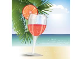 海报沙滩水果茶主题夏日装饰插画元素