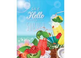 你好夏天主题夏日装饰插画元素