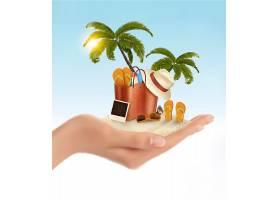 夏天沙滩游玩主题夏日装饰插画元素
