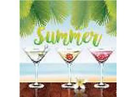 夏日香槟派对主题夏日装饰插画元素