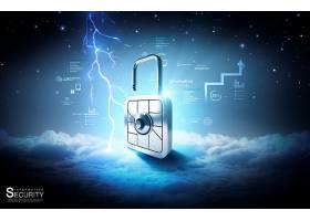 商务金融机械锁创意海报模板设计