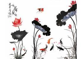 荷花池塘中国风水墨山水意境背景素材