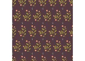 栗色花朵植物无缝图案
