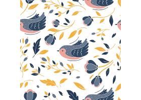 小鸟树叶无缝图案