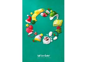 创意冬天主题装饰元素海报设计