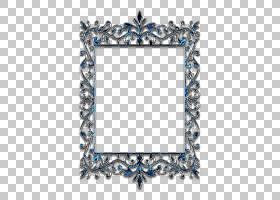 框架装饰艺术,设计PNG剪贴画模板,框架,蓝色,矩形,对称,图片框架,