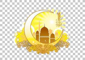 开斋节,Fitr Eid穆巴拉克斋月贺卡穆斯林,黄色月亮形伊斯兰宗教设