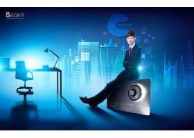 科技感数据化安全主题创意海报通用模板