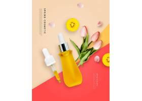 清新韩国美妆用品产品展示海报设计