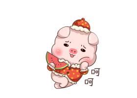 拿西瓜的卡通猪