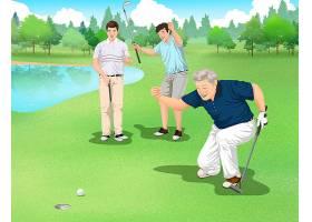 打高尔夫的运动人物