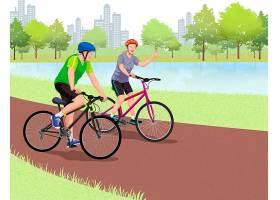 骑自行车的卡通男人