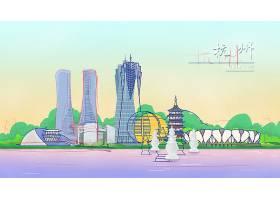 手绘杭州旅游景点插图