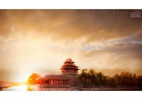 高端时尚简洁中国景观背景海报展板