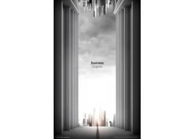 高端简洁商务空间感房地产城市建筑海报