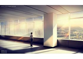 商务男士模拟现实空间海报展板设计