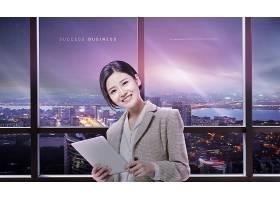 商务女士模拟现实空间海报展板设计