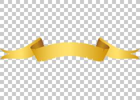 黄色材料字体,黄色丝带横幅材料PNG剪贴画功能区,标签,复古,生日